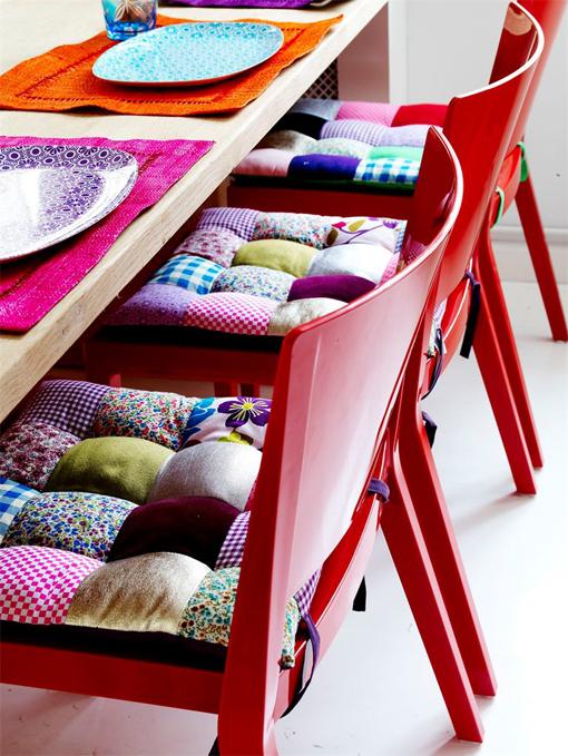 Decocasa mexico tecnica pachtwork en cojines para sillas - Cojines redondos para sillas ...